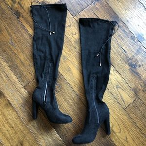 "Yoki ""Daisy"" Black suede zip over the knee boots"